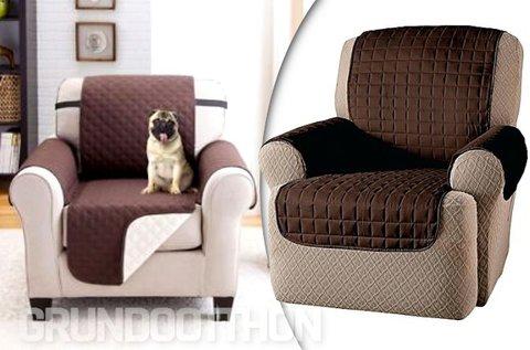 Dupla felületű fotelvédő takaró barna/bézs színben