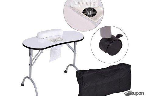 Hordozható, porelszívós manikűr asztal