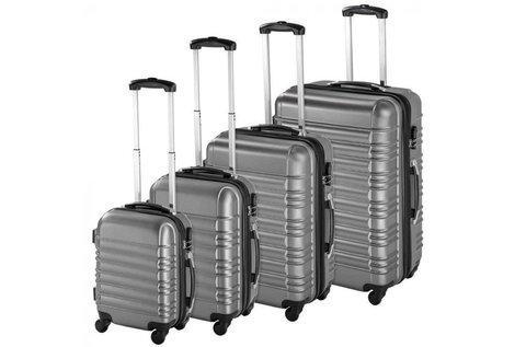 4 db-os bőrönd szett merev, bordázott fallal