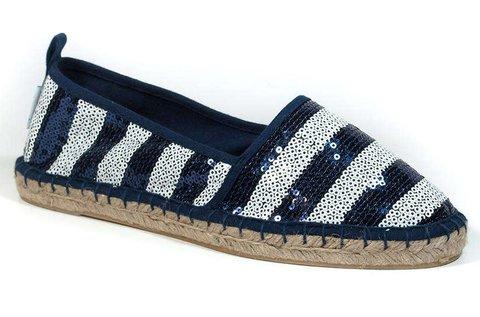 Tamaris flitteres női utcai cipő kék-fehér színben