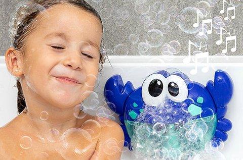 Buborékfújó, gyerekdalokat játszó tarisznyarák