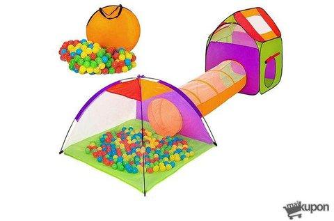 Játszósátor alagúttal, 200 db színes labdával
