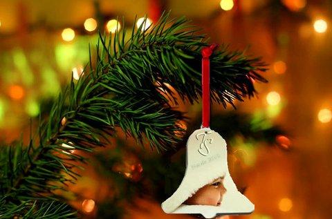 2 db műanyag, fényképes karácsonyfadísz