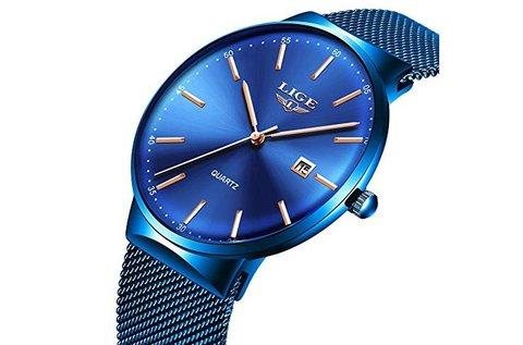 Divatos Lige karóra férfiaknak kék színben