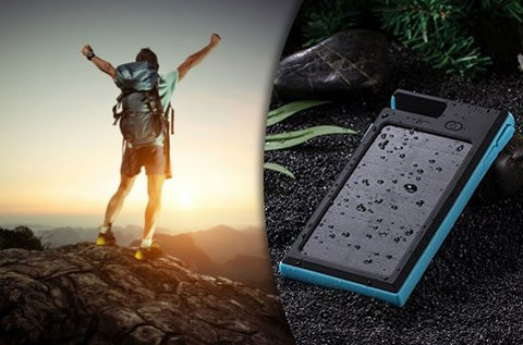 12000 mAh-os napelemes Outdoor Powerbank