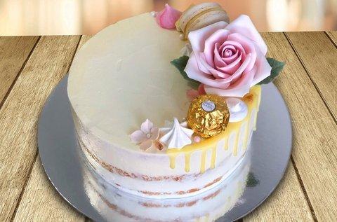 12 szeletes meztelen torta készítése cukorvirággal