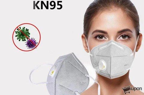 Fehér színű, 5 rétegű KN95 szelepes maszk