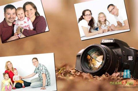 Műtermi családi fotózás 6 főig, 16 db retusált képpel