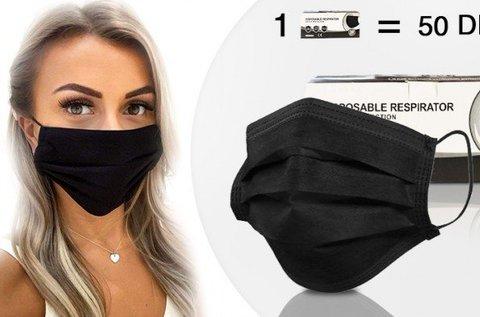 Fekete színű szájmaszk 50 db-os csomagban