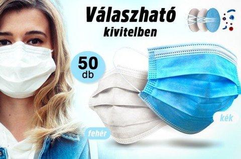 50 db, 3 rétegű, eldobható szájmaszk