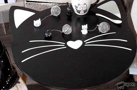Cicás asztalka fekete színben