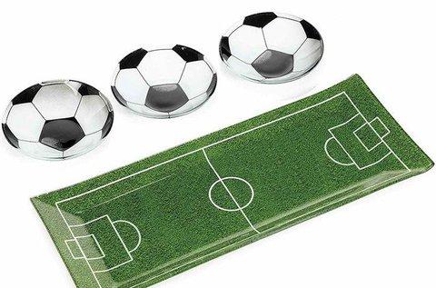 Focipálya formájú üvegtál 3 db focilabdás kínálóval