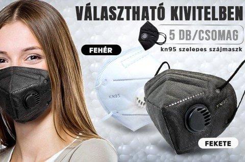 5 db KN95 típusú szájmaszk szeleppel