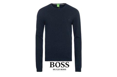 Hugo Boss kerek nyakú sötétkék pulóver