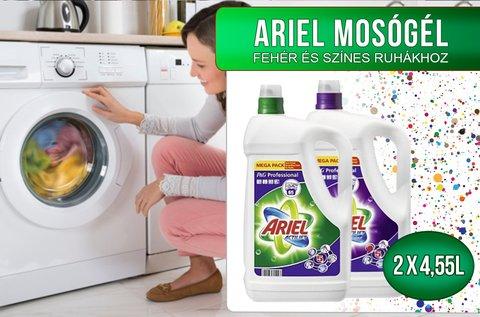 2x4,55 l-es Ariel mosógél színes vagy fehér ruhákhoz