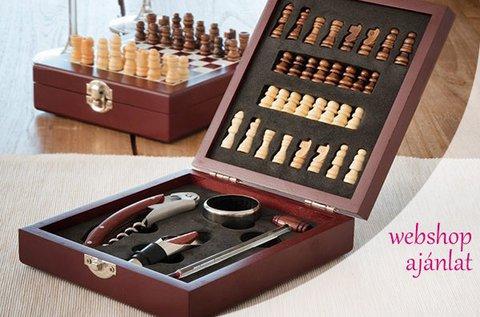 Komplett sakk-készlet  4 db boros kiegészítővel