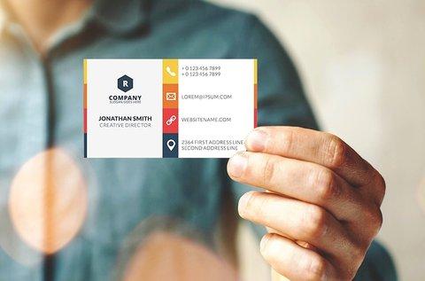 200 db egyedi, 1 oldalas, színes ofszet névjegykártya