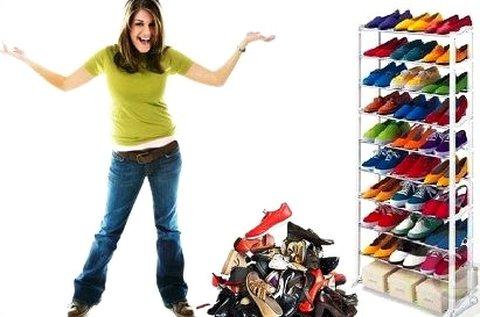 10 soros műanyag cipőtároló tört fehér színben