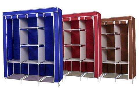 Mobil ruhásszekrény kék vagy bordó színben