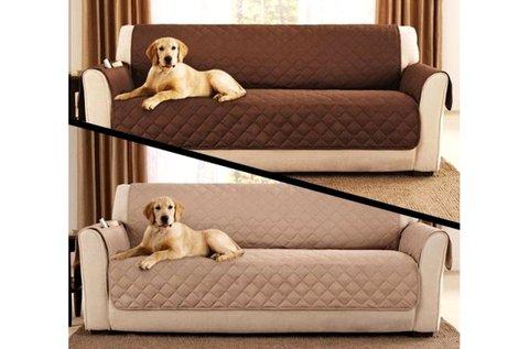 Kétoldalú kanapévédő takaró barna-bézs színben
