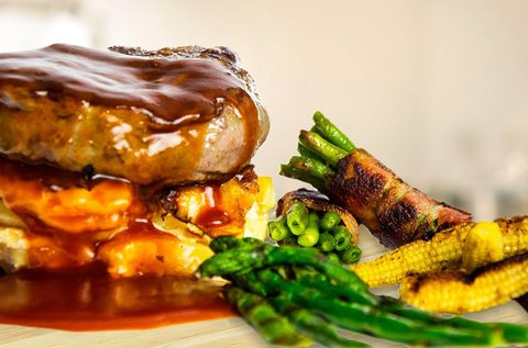 Steak menü grillezett zöldségekkel 2 főnek