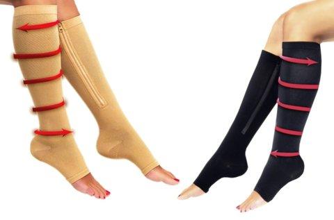 1 pár unisex kompressziós zokni cipzáras kivitelben